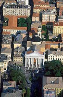 Italy, Liguria, Chiavari, aerial view of the Cathedral