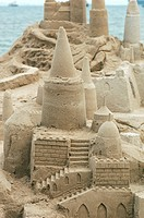Sand castle on castle beach at Singapore, South East Asia