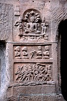 Statues carved on stone in Ellora Cave No. 32 , Aurangabad , Maharashtra , India