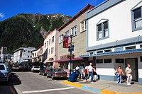 Downtown street , Juneau, Alaska , U.S.A. United States of America