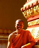 Asia, Laos, Vientiane, buddhist monk at temple Wat Jon Phet