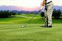 Chinese Man Playing Golf