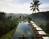 The pool of the Alila Hotel formerly The Chedi, Ubud, overlooking the gorge of the Sayan river. Bali, Indonesia.
