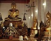 Interior of Wat Mahathat, Bangkok,Thailand.