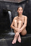 Woman by the Hot Spring Pool at the Brilliant Resort & Spa in Kunming, Yunnan Province, China
