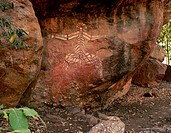 Australia, Northern Territory, Kakadu National Park Anbangbang Shelter, aboriginal rock painting