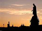 Prague,Czech Republic Silhouette of the King Charles IV Monument