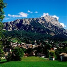 Europe Italy Dolomites,Cortina D´Ampezzo and the mount Sorapiss group in the background