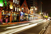 Broad Street at night, Birmingham, West Midlands, England, UK