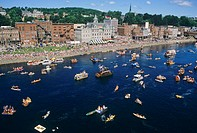USA, Maine Augusta. A group of boats assembled for the old Whatever race on the Kennebec river in 1988