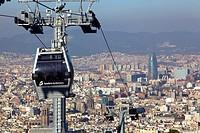 Teleferic de Montjuic gondola lift, Barcelona, Catalonia, Spain