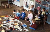 Sweden, Stockholm, children´s art lesson. Swedish modern Museum