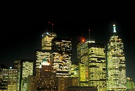 skyline, Toronto, Canada, Ontario, Skyline of downtown Toronto in the evening.