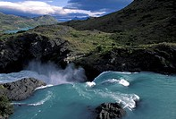 Chile, Patagonia, Torres Del Paine National park, Paine River, Great Falls