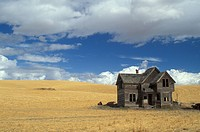 USA, Oregon, The Dalles, Old farmhouse and fields