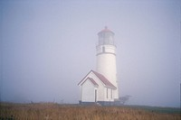 Cape Blanco Lighthouse In Fog, Near Port Orford, Oregon