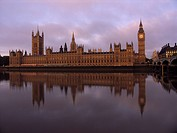 Houses of Parliament at sunrise, Big Ben and the Palace of Westminster, Westminster Bridge and Thames River, London, England
