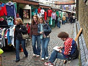 Teenage girls at Camden Lock Market, Camden Town, London, England