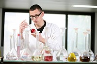 Worker in chemistry laboratory