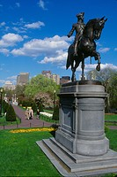 USA, Massachussets, Boston, public garden, George Washington statue