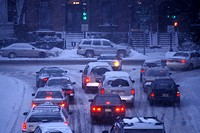 Snowstorm and traffic, Boston, Massachusetts, USA