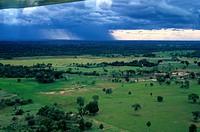 Brazil, farm, aerial view