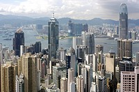 China, Hong Kong, skyline from Victoria peak