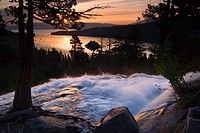 Blurry Eagle Falls and Emerald Bay at dawn on Lake Tahoe in California