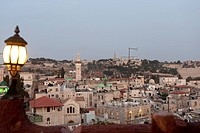 Israel, Jerusalem, skyline at dusk