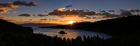 Sunrise and clouds above Emerald Bay on Lake Tahoe in California