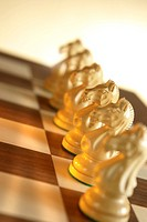 Row of knights on a chessboard