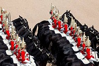 UK, England, London, Household Cavalry at Trooping the Color Ceremony at Horse Guards Parade Whitehall