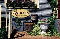Signboard of an antique shop, Consign Tiques, St. Charles, Illinois, USA