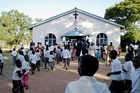 Zimbabwe, Mashonaland Central, Nyachuru Township. May 2010. End of the Sunday Service at the Salvation Army Nyachuru Citadel