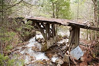 Pemigewasset Wilderness - Black Brook Trestle Trestle 16 along the old East Branch & Lincoln Logging Railroad in Lincoln, New Hampshire US just pass t...