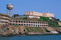 Water tower and ruined buildings on Alcatraz island in San Francisco, California, USA