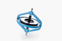 Spinning gyroscope on white background