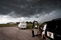 Storm chasers with Project Vortex 2 investigate a storm near Scottsbluff, Nebraska, June 7, 2010  Vortex 2 is a two year science mission to study torn...