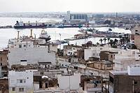 Tunisia, Tunisian Central Coast, Sousse, elevated view of the port