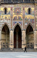 Exterior lateral of Vitus Cathedral In Prague Castle  Hradcany quarter Prague  Czech Republic