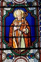 Alphonsus de Liguori (1696-1787), Saint Alphonse, Italian pope. Stained  glass window in the Church of Saint Hilaire de Licheres, Region Centre (Berry...