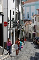 Portugal, Azores, Terceira Island, Angra do Heroismo, houses