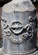 Turkey, Bergama, Pergamum, the Column with Snake that is located at the intrance hallof Asklepion sacred area.