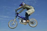 Motorcrosser jumping