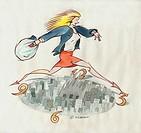 Woman rushing