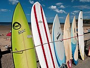 England, Redcar & Cleveland, Saltburn_By_The_Sea. Surfboards for sale by the beach at Saltburn_By_The_Sea.