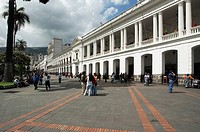 Ecuador, Quito, Pichincha, Independence Square, the cathedral and the governement palace