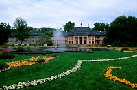 GERMANY, NEAR DRESDEN, PILLNITZ CASTLE, PARK WITH FLOWERS, FOUNTAIN