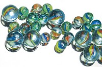 Close up of Coloured Marbles