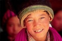 India, Zanskar valley, portrait of a boy
